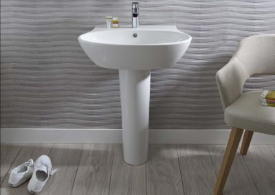 Bayswater basin & pedestal plus modern mirror_NO GLOW