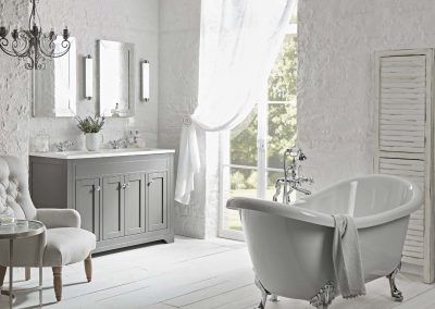 Marlborough 1200mm charcoal flat fronted unit with double basin and Alveston bath lifestyle