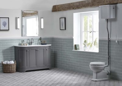 Marlborough 1200mm curved charcoal freestanding illuminated mirror and bloomsbury high level WC lifestyle v01