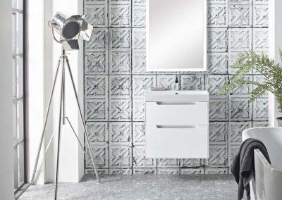 Monograph 600mm white drawer unit & opus acrylic bath_Lifestyle