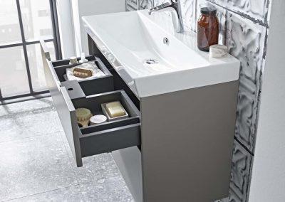 Monograph 800mm light grey basin usnit drawer open_Lifestyle V4